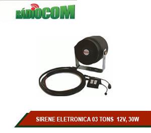 SIRENE ELETRONICA 03 TONS  12V, 30W